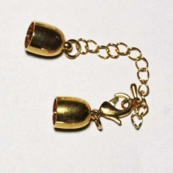 Clasp + extension, 8mm gold colored